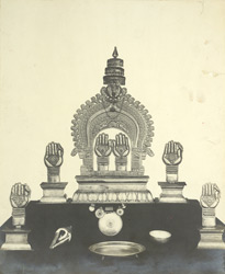 Golden vimana, umbrella, ornaments and vessels of worship in the Bhagavati Temple, Agattaitara, Palghat Taluk